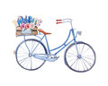 Watercolor vintage bicycle with box of flowers