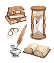 Watercolor vintage books illustration glasses sand hourglass and ink pen illustrations Royalty Free Stock Photography