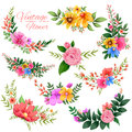 Watercolor Vintage floral frame Royalty Free Stock Photo