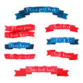 Watercolor vintage hand drawn vector ribbons set with hand written text in blue and red colors. Royalty Free Stock Photo