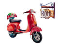 Watercolor Vintage Hippie travel scooter, isolated on white Royalty Free Stock Photo