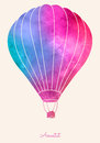 Watercolor Vintage Hot Air Balloon.Celebration Festive Background With Balloons