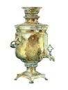 Watercolor vintage kettle (samovar)