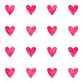 Watercolor vintage pink red vector hearts seamless pattern