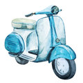 Watercolor vintage scooter Royalty Free Stock Photo