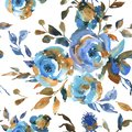 Watercolor vintage seamless pattern with turquoise roses, wildflowers. Natural blue floral texture on white background