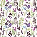 Watercolor violet flowers seamless pattern. Royalty Free Stock Photo