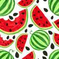 Watercolor watermelon slices, seamless background. Vector illust Royalty Free Stock Photo