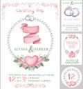 Watercolor wedding invitation set.Pink roses Royalty Free Stock Photo