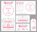 Watercolor wedding invitation set.Pink,swirling Royalty Free Stock Photo