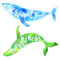 Watercolor whales hand drawn vector illustration green and blue Stock Images
