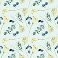Watercolor white callas flowers and eucalyptus branches seamless pattern