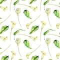 Watercolor white callas flowers and green tropical leaves seamless pattern