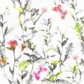 Watercolor And White Colors For Fashion Meadow Flowers Grass Herbs Seamless Herbal Background In Black