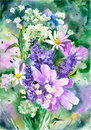 Watercolor wildflowers background.