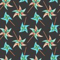 Watercolor windmill toys seamless pattern Royalty Free Stock Photo