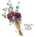 Watercolor winter bouquet. Hand painted baby, seeded and silver dollar eucalyptus elements, succulent and dahlia. Floral
