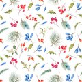 Watercolor winter christmas vector pattern
