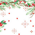 Watercolor winter holidays background. watercolor illustration Christmas tree, mistletoe branch, mistletoe berry, snowflake.