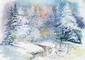 Watercolor Winter Landscape Il...