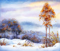 Watercolor winter landscape. Snow-covered valley and trees