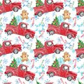 Watercolor winter seamless pattern with red Christmas truck, festive fir tree, candy cane, gingerbread men, snowflakes on white