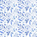 Watercolor winter woodland seamless pattern with blue leaves and branches. Dusty botanical illustration. Christmas pattern design Royalty Free Stock Photo