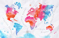Watercolor world map pink blue Royalty Free Stock Photo