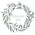 Watercolor wreath of eucalyptus