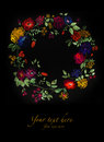 Watercolor wreath of flowers can be used as greeting card invitation card for wedding birthday and other holiday summer background Royalty Free Stock Photo