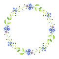 Watercolor wreath. Forget-me-nots and ribbon