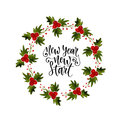 Watercolor wreath frame with mistletoe. For invitation and greeting card. New Year new start. Inspirational and motivational handw