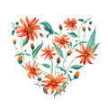 Watercolor wreath heart-shaped. Red daisies.