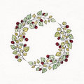 Watercolor wreath with leaves and berries of raspberries