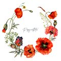 Watercolor Wreath made of Red Poppy Flowers in Vintage Style Royalty Free Stock Photo