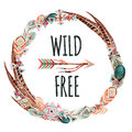 Watercolor wreath with ornate bird feathers and arrow on white background.