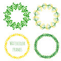 Watercolor flowers wreath set. Floral round frame collection. Hand painted wedding or greeting card decoration. Vector isolated el