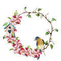 Watercolor wreath with tree branches, apple blossom, bird and birdhouse. Hand painted floral illustration isolated on Royalty Free Stock Photo