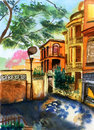 Watercolor xiamen gulangyu china painting on paper Royalty Free Stock Image