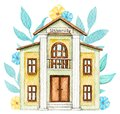 Watercolor yellow cartoon university building in flowers Royalty Free Stock Photo