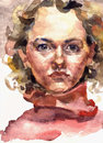 Watercolor young woman artistic illustration portrait of a blonde in red sweater Royalty Free Stock Images