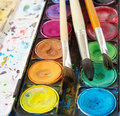 Watercolors and brushes Royalty Free Stock Photography