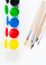 Watercolors and brushes gouache paints with paintbrushes Royalty Free Stock Photo