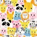 Watercolour cute animal faces pattern seamless