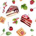 Watercolour desserts seamless pattern with cakes, red currant and cherries. Food background with cafe assortment.