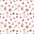 Watercolour tasty desserts seamless pattern in pastel colors. hand painted sweet treats on white background