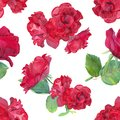 Watercolour three red roses bouqet seamles pattern