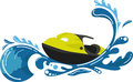 Watercraft a stylized cartoon ocean wave with the on it Royalty Free Stock Image