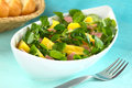 Watercress pineapple and ham salad fresh in elongate white bowl with baguette slices in the back selective focus focus on the two Royalty Free Stock Photos