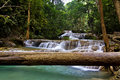 Waterfal and big timber erawan waterfall in kanchanaburi thailand Stock Photography